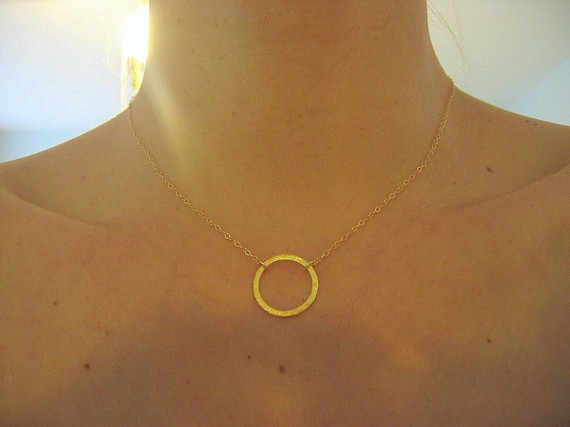Gold circle necklace eternity halo karma on luulla gold circle necklace eternity halo karma aloadofball Gallery