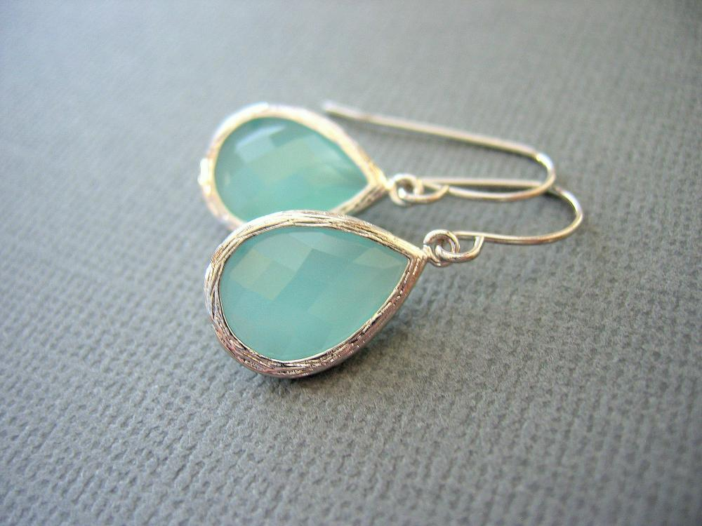 Aqua Earrings Mint Green Earrings White Gold Teardrop Dangle