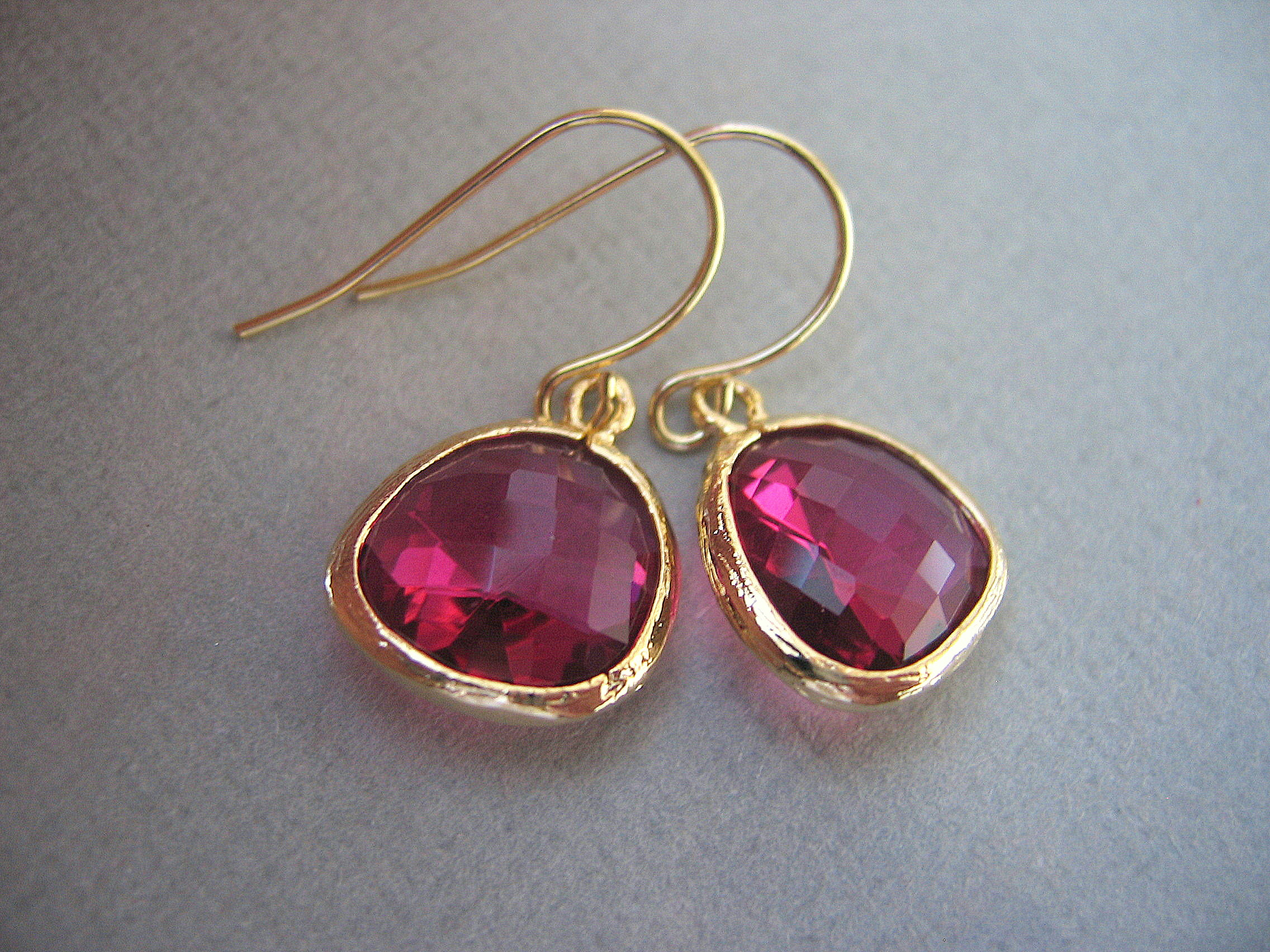 Ruby Fuschia Earrings Gl Gold Hot Pink