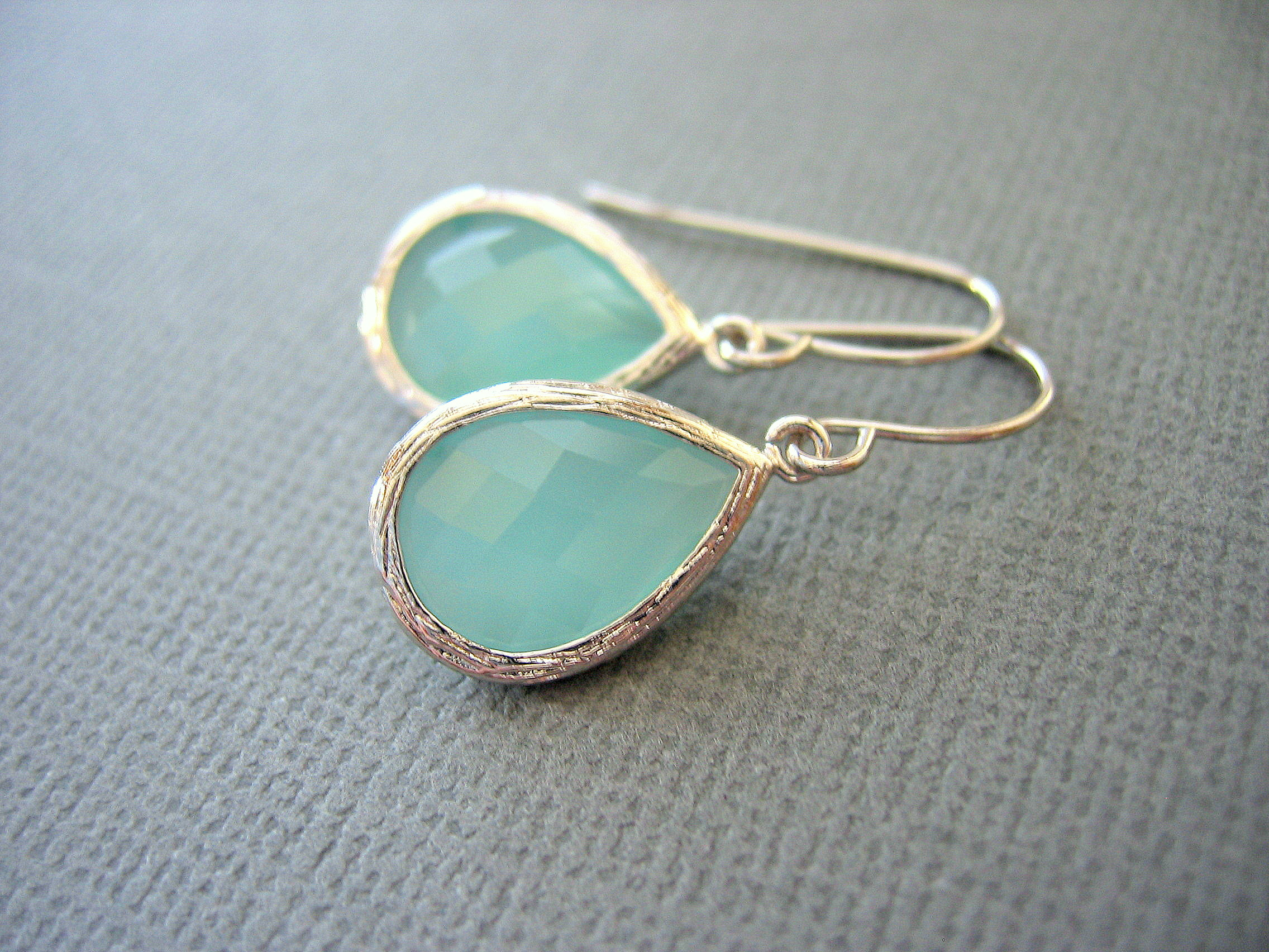 Aqua Earrings Mint Green White Gold Teardrop Dangle Wedding Jewelry